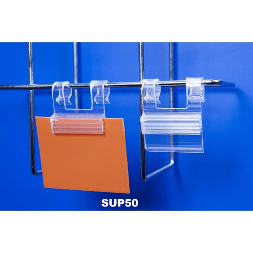 SuperGrip Double Hook Hanging Sign Holder for Wire Basket and Grid Mesh SUP50-Supergrips-Hang and Display