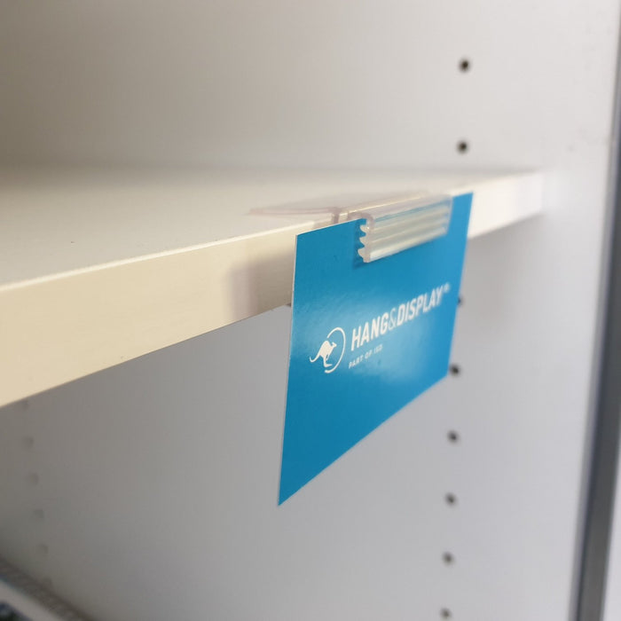 SuperGrip Parallel Hinged Ticket Holder for Timber Shelves SUP22-Supergrips-Hang and Display