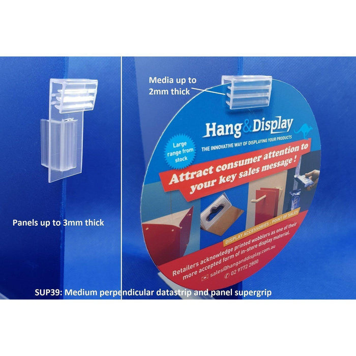 Supergrip Perpendicular Sign Holder for Data Strips and Shelves SUP36 SUP39-Supergrips-Hang and Display