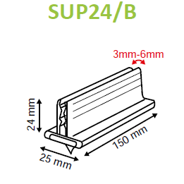 SuperGrip Sign Holder 25mm Adhesive Base 3mm to 6mm Capacity SUP24-Supergrips-Hang and Display