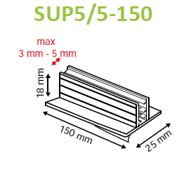 SuperGrip Sign Holder 25mm Adhesive Base 3mm to 5mm Capacity SUP5/5-Supergrips-Hang and Display