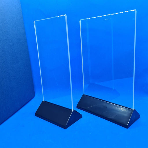 Table Top Acrylic Menu Holder with Black Pyramid Plastic Base