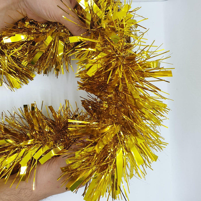 Tinsel Garland Large Decorative Fluffy Metallic Foil 15cm x 3 Meters