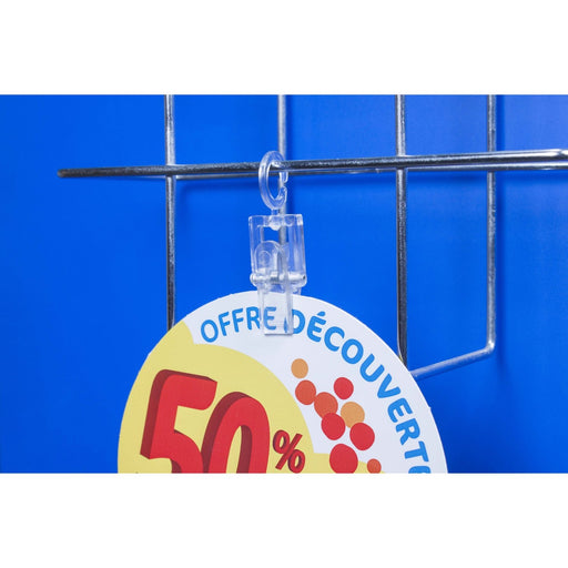 Transparent Hanging Clip for Wire CLI6/10T-Wire Basket Ticket Holders-Hang and Display