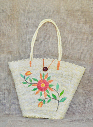 Flowers, buriti straw bag