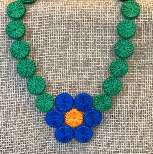Upcycled flower,necklace