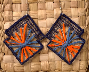 Magic colors, embroidery filé earrings