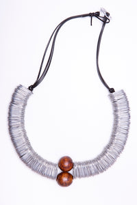 Wood and tin, necklace