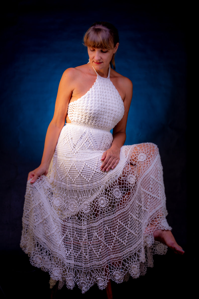 Purezza, white crochet dress