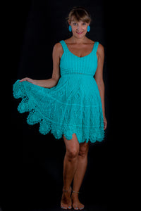 Lagoon, turquoise  crochet dress