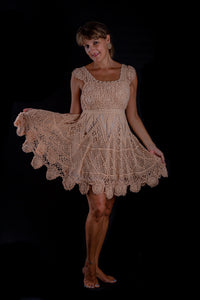 Peach blossom, crochet dress