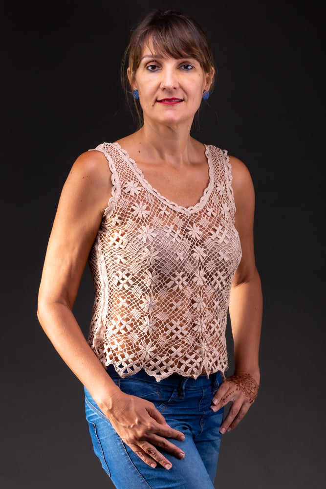 Autumn, bobbin lace tank top