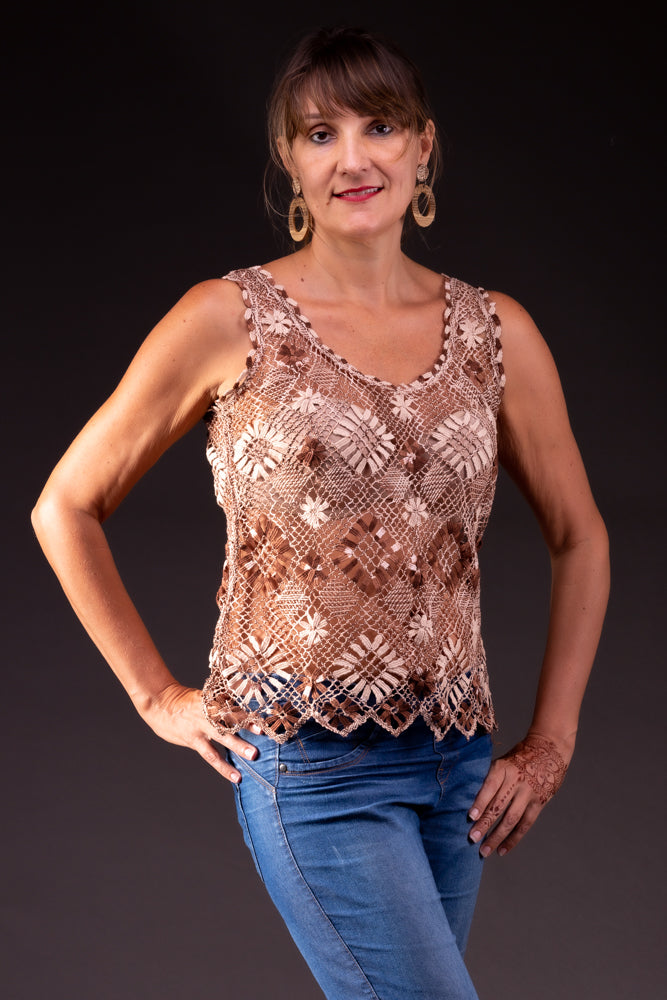 Sand, bobbin lace tank top