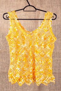 Spring flowers, bobbin lace tank top