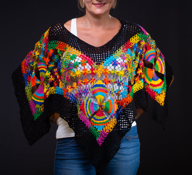 Multicolor, embroidery filé poncho