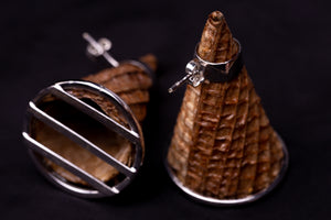 Cones, white golden plated silver earrings