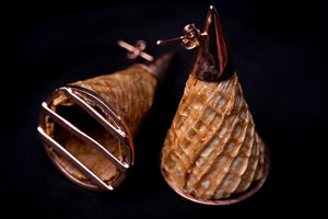 Cones, rose golden plated brass earrings