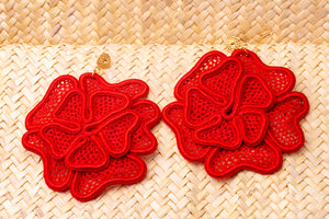 Roses, lace earrings
