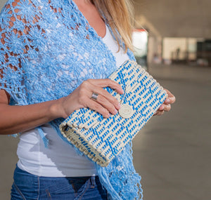 straw and recycled plastic clutch