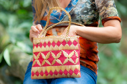 embroidery reed over  jute handbag