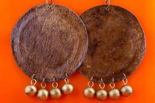 recycled can covered with recycled coffee filter earrings