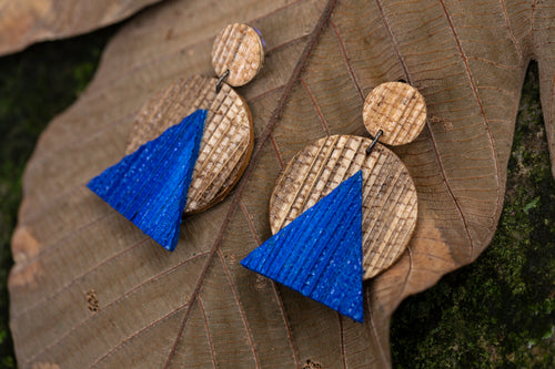 sustainable earrings made  with recycled materials and banana fibre