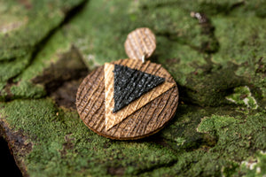 sustainable earrings with recycled materials and banana fibre