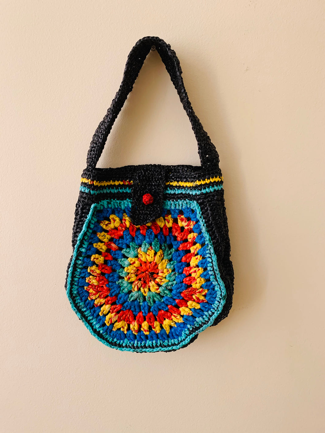 Recycled style, recycled plastic crochet handbag