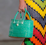 recycled green plastic and straw bag