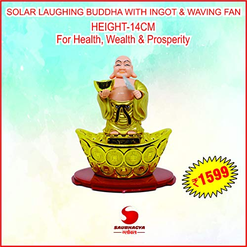 Saubhagya Global Solar Laughing Buddha On Ingot & Waving Fan-14CM | Moving Head & Fan | for Health Wealth & Prosperity