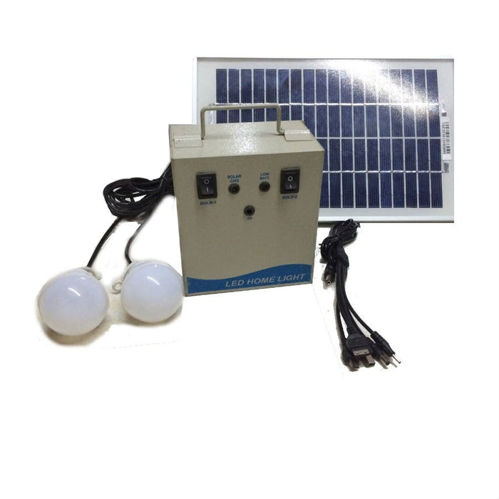 Solar Home Lighting System with 2 x 3W LED bulbs with 5w Solar panel- Metal Based
