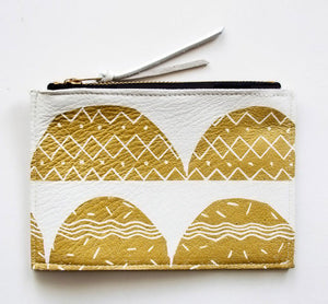 White Leather Zip Wallet