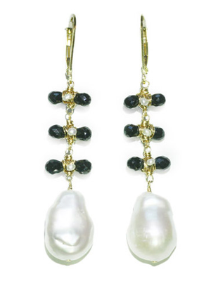 Pearl + Black Crystal Earrings