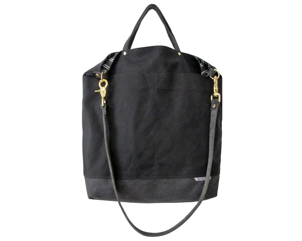 Ali Golden | Black + Black Stripe Reversible Bag | Firecracker