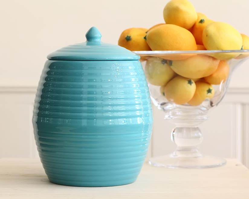 Bauer Pottery Co. | Aqua Cookie Jar | Firecracker