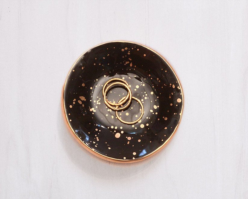 Gold Speckled Ceramic Ring Dish