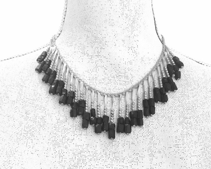 Ann Lightfoot | Hematite + Tourmaline Fringe Necklace | Firecracker