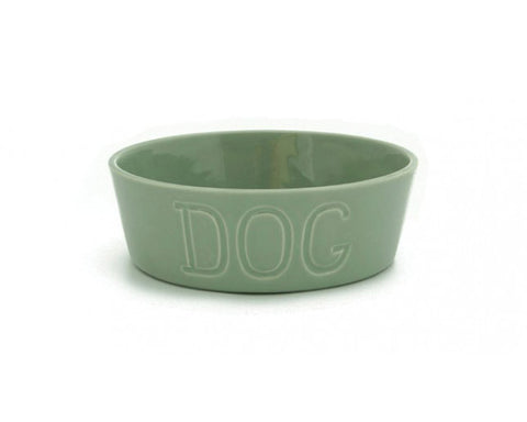 Bauer Pottery Co. | Dove Gray Dog Bowl | Firecracker
