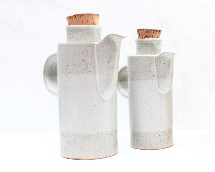Len Carella Ceramics |  Longneck Stoneware Pot | Satin White | Firecracker