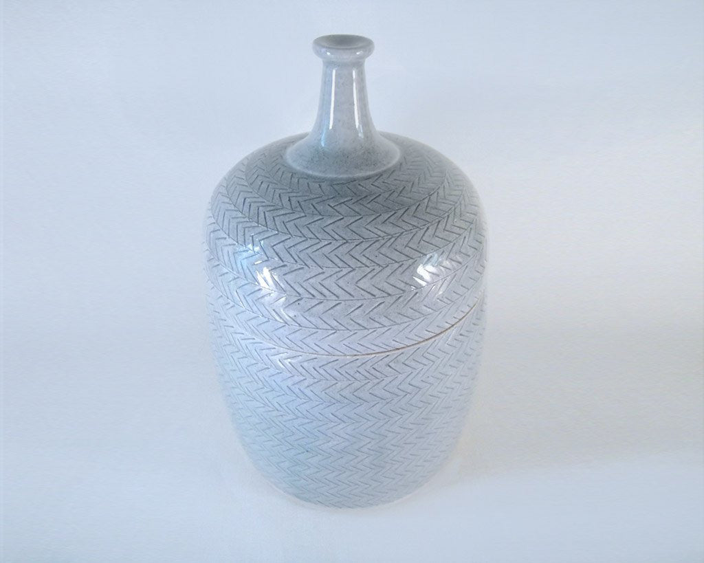 Glazed Stoneware Jar w/ Herringbone Detail