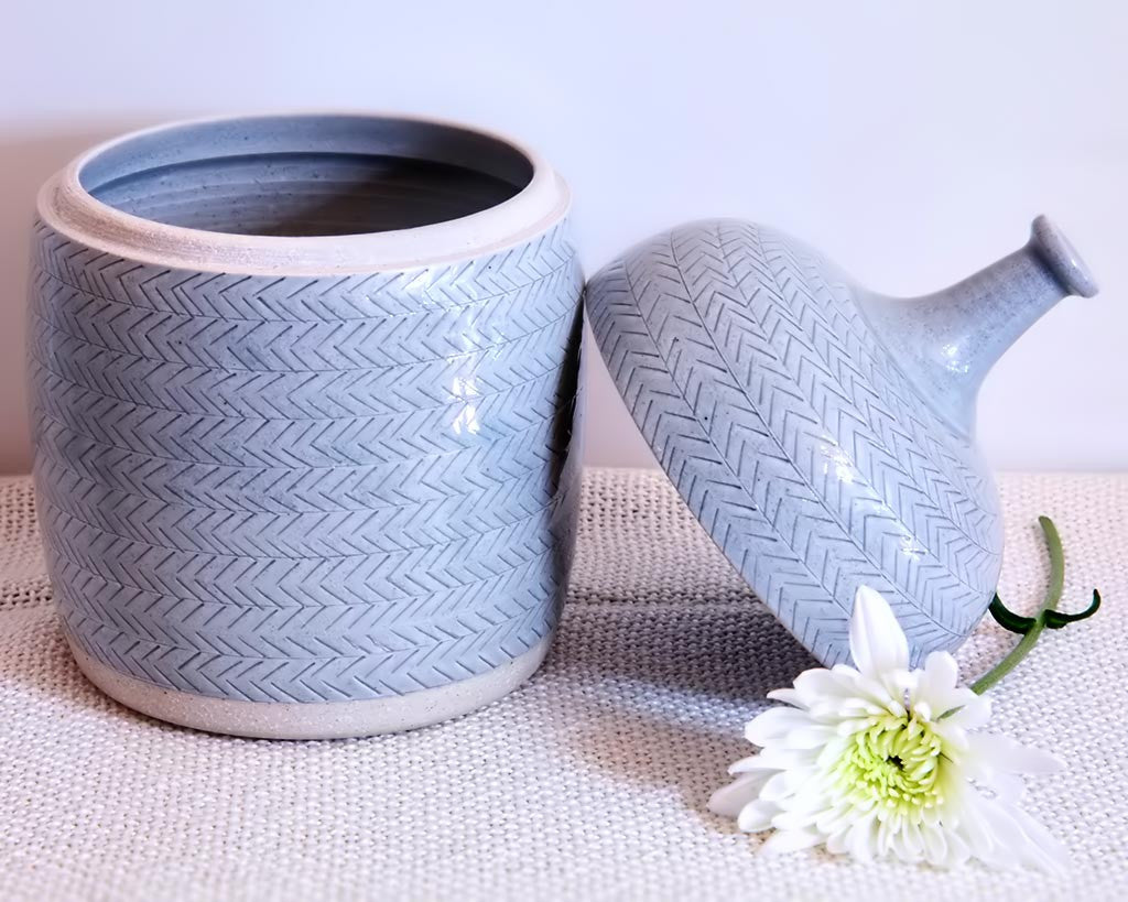 Len Carella Ceramics | Glazed Stoneware Jar w/ Herringbone Detail | Firecracker