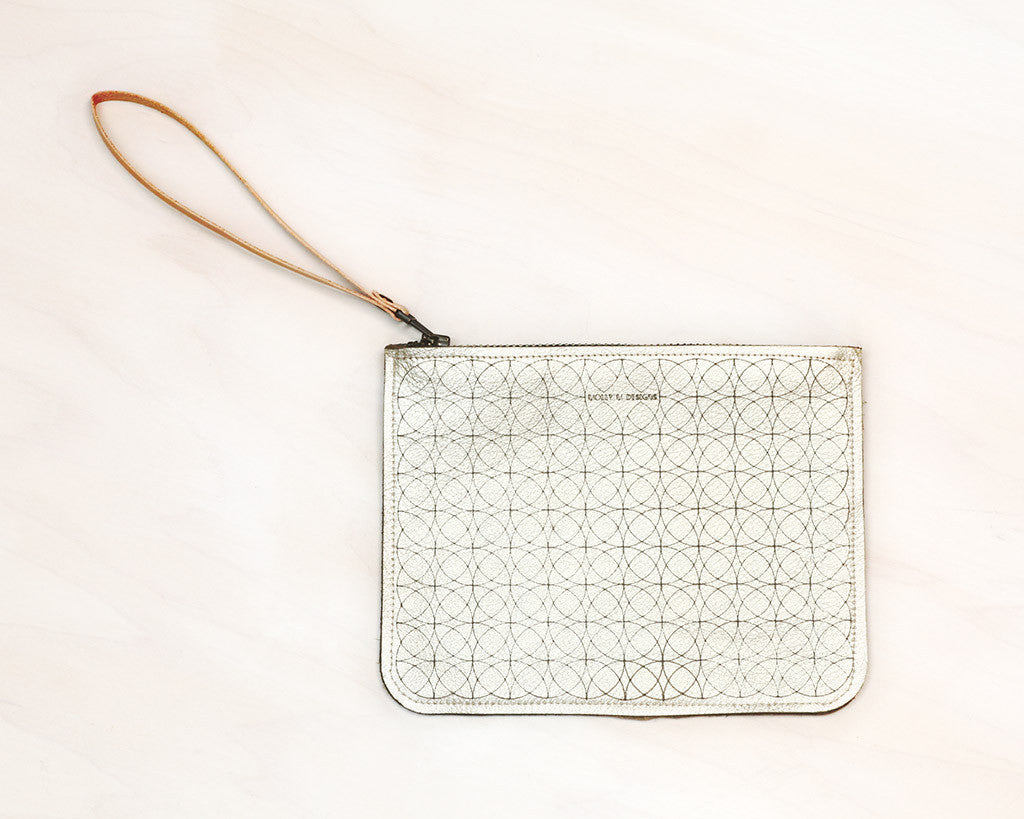 Etched Leather Pouch (Platinum)