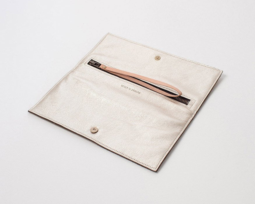 Etched Leather Clutch (Platinum)