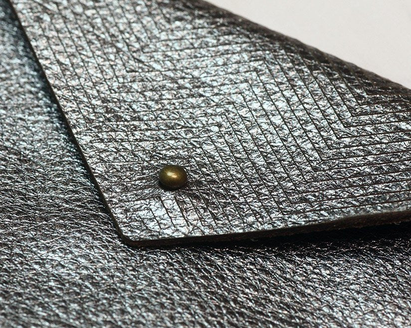 Etched Leather Card Wallet (Metallic Gunmetal)
