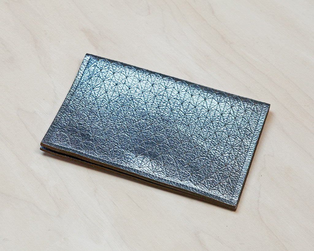 Etched Leather Passport Wallet (Metallic Ice Blue)