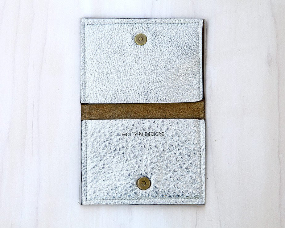 Molly M Designs | Silver Leather Card Case | Firecracker