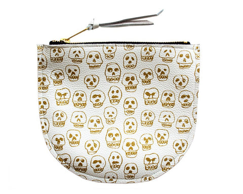 Amelie Mancini | Skulls Pouch (White Leather) | Firecracker