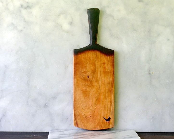 Me Speak Design | Cherry Wood Serving Board w/ Handle | Firecracker