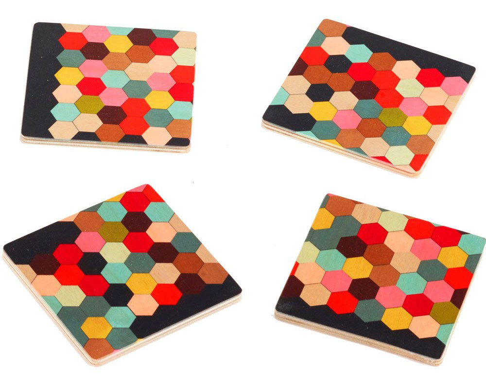 "Wolfum | ""Honeycomb"" Coasters 