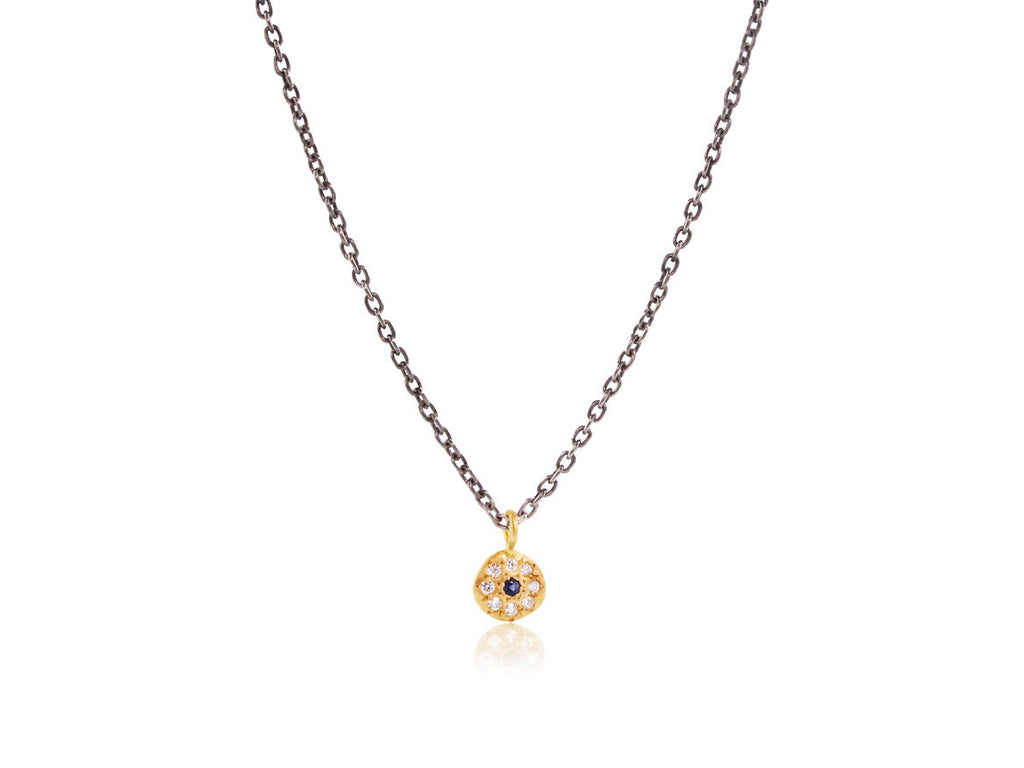 Adel Chefridi Studio | Diamond + Blue Sapphire 18k Gold Charm Necklace | Firecracker